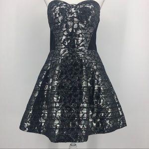 BEBE Metallic Silver/ Black Strapless Dress L
